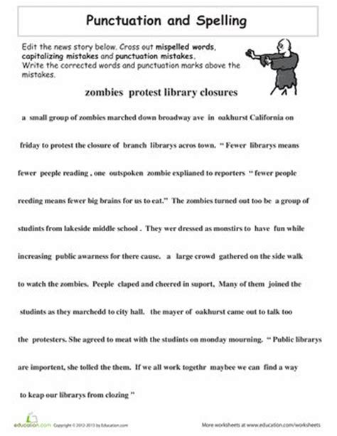 proofreading practice punctuation and spelling grammar worksheets punctuation worksheets