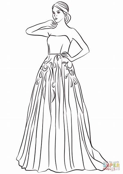 Coloring Prom Colorear Vestido Dibujos Moda Largo