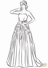 Coloring Prom Colorear Vestido Printable Dibujos Moda Largo Strapless Vestidos Gown Drawing Outline Colorare Ball Dibujo Imagenes Sin Template Dresses sketch template