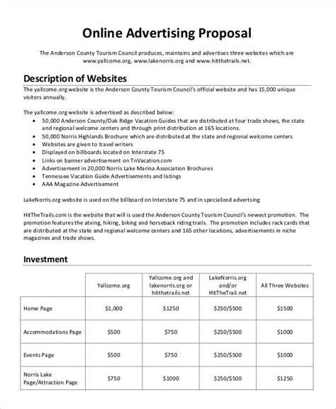 advertising business proposal templates  sample