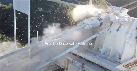 arecibo telescope collapse caught  video   drone dronedj