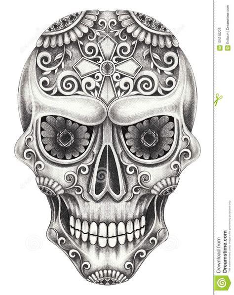 Art Sugar Skull Day The Dead Stock Illustration