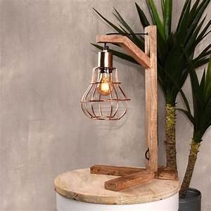 Lampe A Poser : lampe poser bois et cuivre dom label51 drawer ~ Nature-et-papiers.com Idées de Décoration