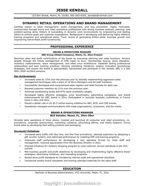 Sle Resume For Operations Manager by Retail Operations Manager Resume Bijeefopijburg Nl