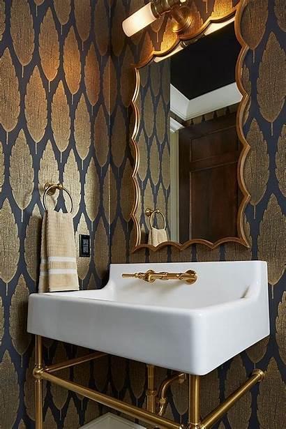 Powder Bathroom Modern Rooms Rustic Interior Gold