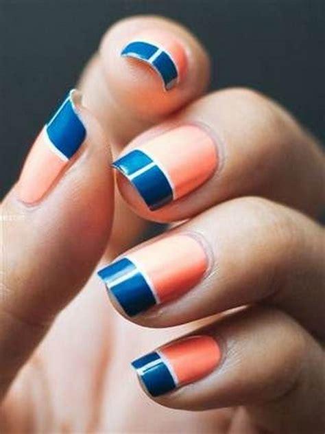 cool color block nail designs