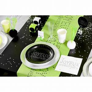Chemin De Table Vert : chemin de table joyeux anniversaire vert anis intiss 5 m ~ Teatrodelosmanantiales.com Idées de Décoration