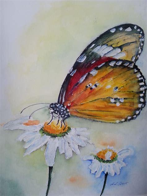 bild aquarellmalerei tiere rot schmetterling von