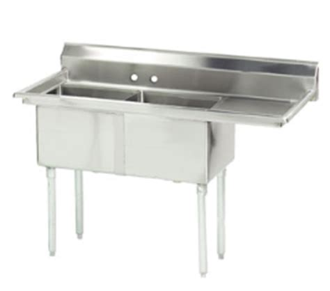 advance tabco stainless steel two compartment sink