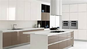 white kitchen island with brown kitchen cabinet design With brown and white kitchen designs