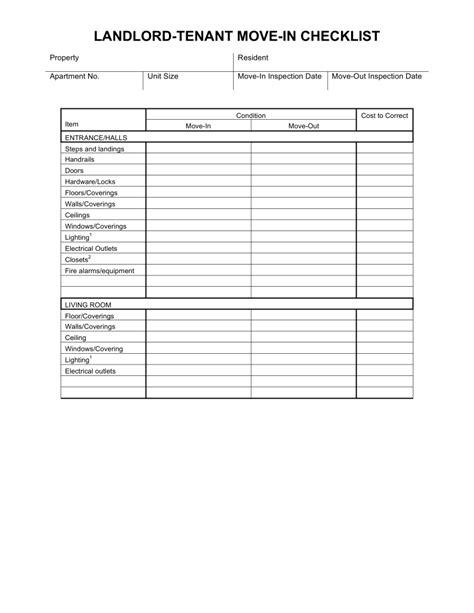 move  move  checklist  landlord tenant eforms