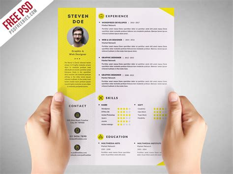 Psd Resume Template by Freebie Clean Resume Cv Template Free Psd On Behance
