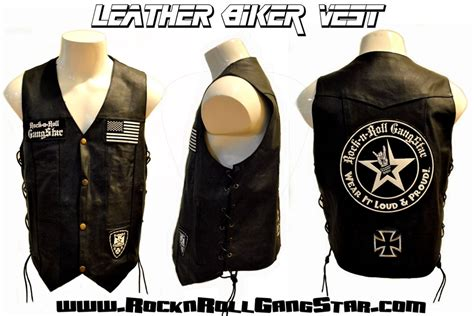 Mens Custom Leather Biker Vest Rock And Roll Heavy Metal
