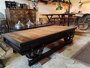Table Basse Style Industriel : table basse wagonnet design industriel geonancy design ~ Melissatoandfro.com Idées de Décoration