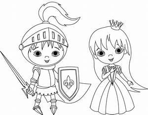 Ausmalbild Prinzessin: Ritter und Prinzessin kostenlos