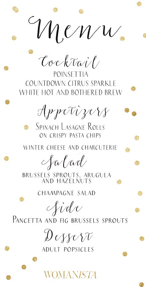 Womanista Menu Nye Cocktail Party