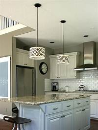kitchen island pendant lighting Customize kitchen lighting with fabric-covered drum shades ...