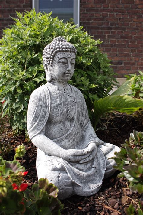 Steinfigur Großer Buddha Shiva Frostfest Garten Deko