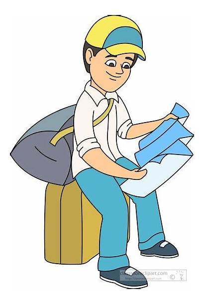 Clipart Directions Map Traveler Looking Sitting Clip