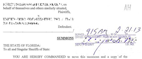 Answer to Civil Summons & Complaint in Florida