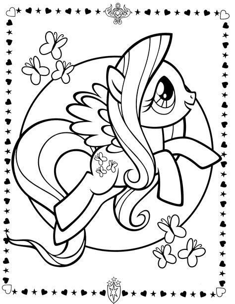 pony colouring sheets fluttershy