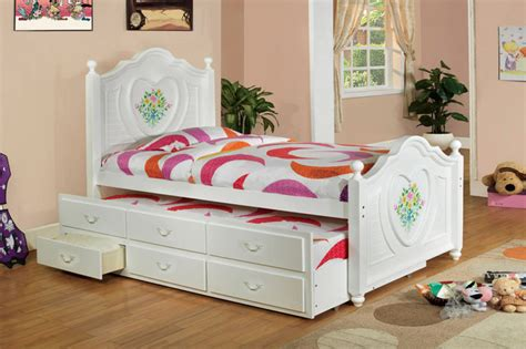 shipping white wood girls twin captain bed