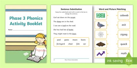 * New * Phase 3 Phonics Activity Booklet  Reading, Letters And Sounds