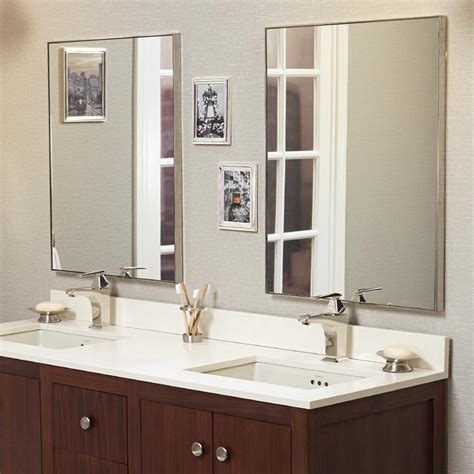 Nickel Framed Bathroom Mirror by 24 Quot Fortune Contemporary Metal Framed Bathroom Mirror In