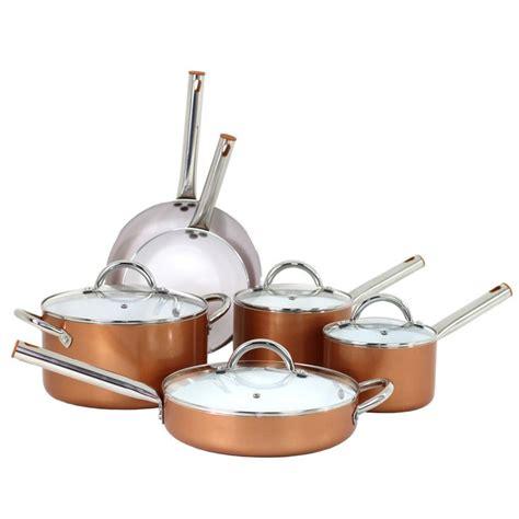 oneida  pc aluminum copper cookware set copper cookware set cookware set pots pans sets
