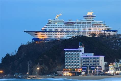has this cruise ship run aground on top of a hill aol