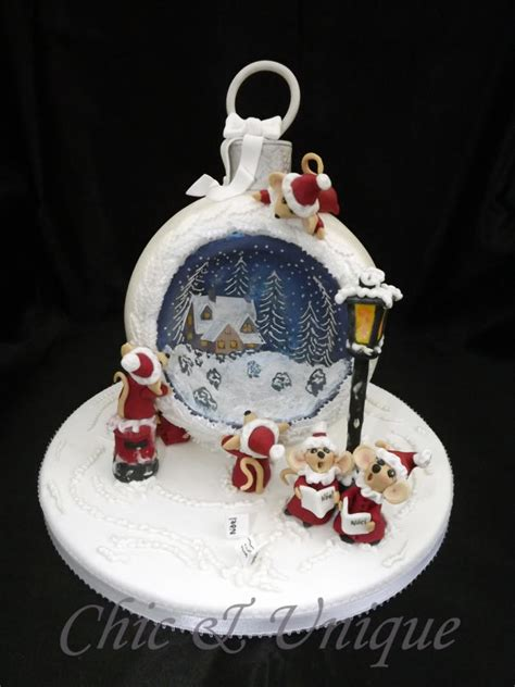 christmas mice choir cake  sharon young cakesdecor