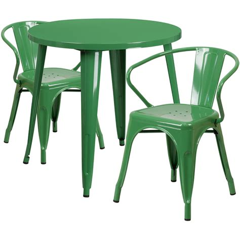 30 green metal indoor outdoor table set with 2 arm