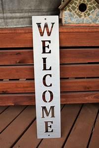 Vertical, Metal, Welcome, Sign