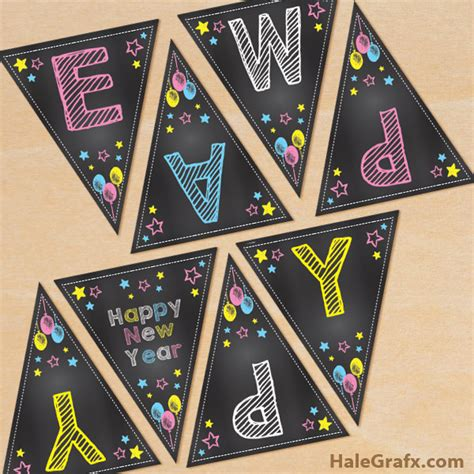 printable chalk happy  year banner