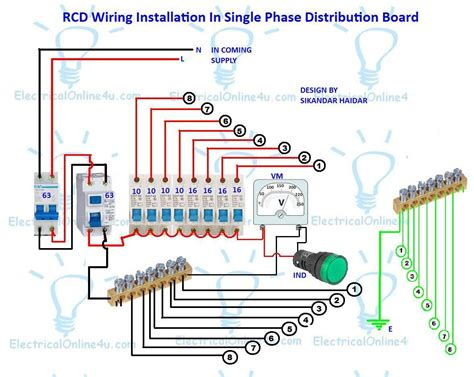 electrical wiring and installation rcd wiring installation in single phase distribution board