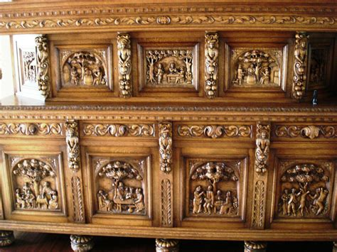 Antique Wooden Sideboard by Elizabethan Solid Wood Antique Heavily Carved Buffet
