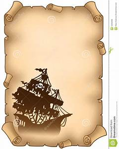 Old scroll with mysterious pirate ship stock illustration for Pirate scroll template