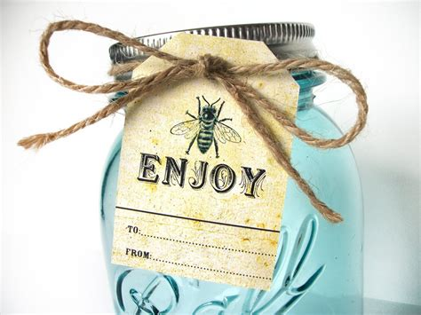 vintage enjoy honey bee hang tags  mason jars honey favors canningcrafts