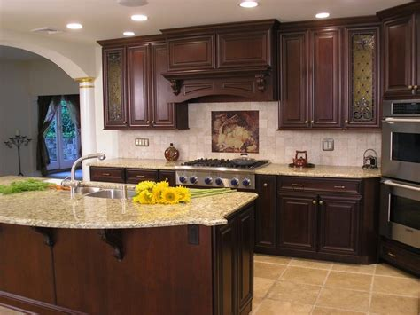 cherry color kitchen cabinets cherry cupboards with light granite countertops for 5370