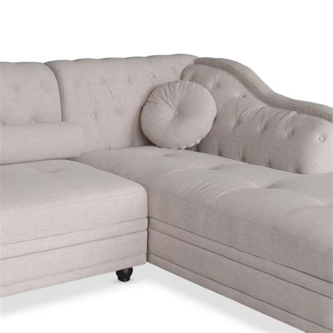 canapé chesterfield tissu canapé chesterfield d 39 angle en tissu beige pas cher