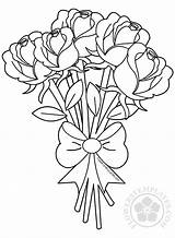 Bouquet Flower Roses Coloring Flowers Rose Pages Drawing Printable Adult Drawings Colouring Sheets Templates Simple Adults Butterfly Valentine Happy Valentines sketch template
