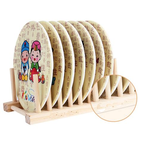 bamboo plate rack pot lid holder cabinet stand storage wood dish kitchen plate ebay