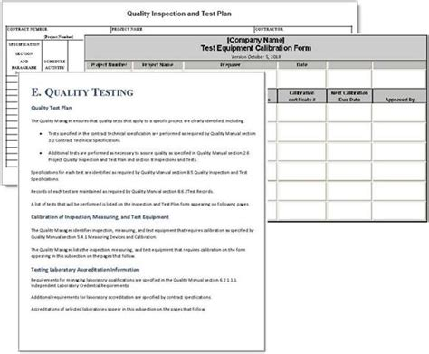 contractor quality plan template project plan sle forms