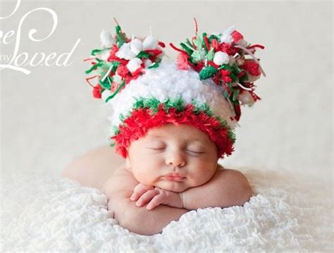 baby christmas hat with big quot puffs quot for baby pinterest