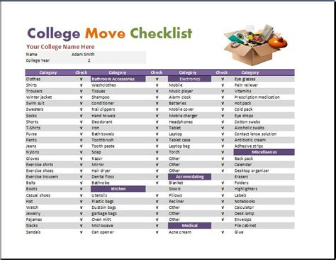 dorm room checklist template word excel templates