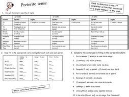 preterite tense el preterito by thecaz teaching resources