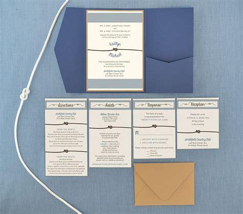 nautical tie  knot pocket invitation cards pockets