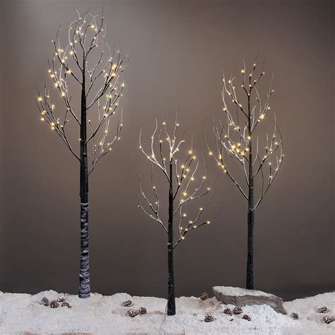 light up outdoor trees christmas 7ft 120led black twig snowy tree light for home party