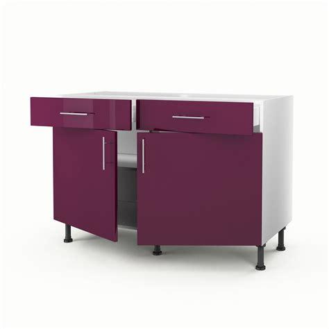 meuble de cuisine 120 cm meuble de cuisine bas violet 2 portes 2 tiroirs h70xl120xp56 cm leroy merlin