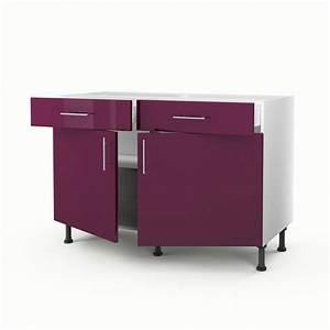 Meuble de cuisine bas violet 2 portes 2 tiroirs rio for Meuble cuisine bas 120 cm 6 meuble de cuisine bas violet 2 portes 2 tiroirs rio h 70